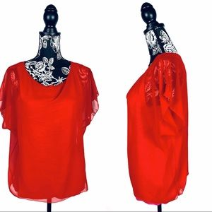 5 for $25 Express red/pink layered flowy top